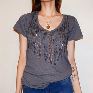 Sparkly Sequins Gray T-Shirt! 🖤😍